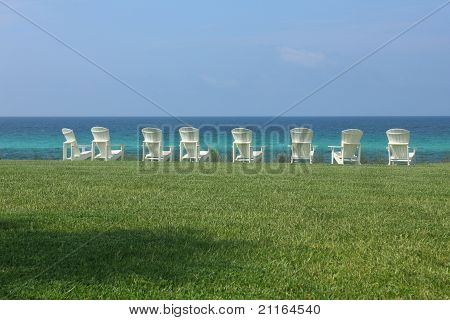 Eight Adirondack Beach Chairs With Ocean View