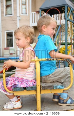Quarrel Boy And Girl Sit On The Bench
