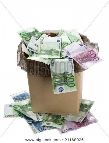 A money is in a trash bucket.