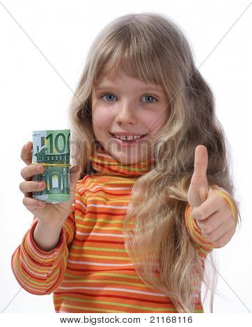 A merry girl holds a money.