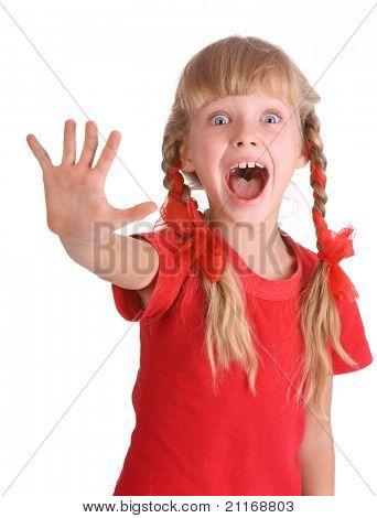 Emotion girl in sport shirt shout.