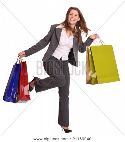 Business woman with gift bag run. Isolated.