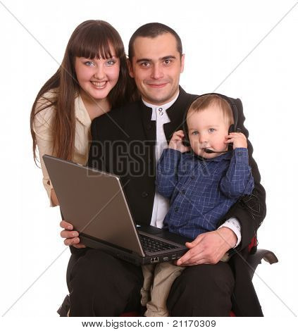Happy family with laptop and headset. Isolated.