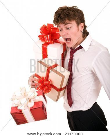 Man with falling gift box. Isolated.