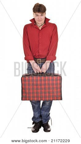 Happy man with travel suitcase . Isolated.