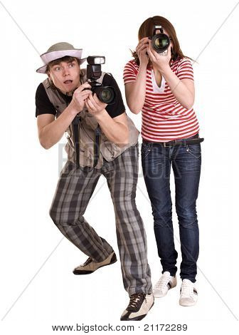 Photographer group with digital camera. Isolated.