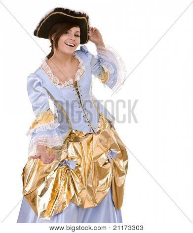 Girl in blue dress with gold and black hat. Isolated.