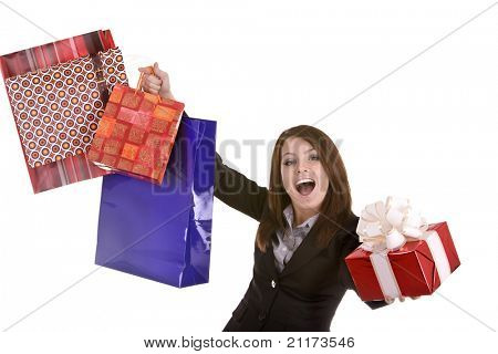 Business woman with red christmas  gift  box and shopping bag. Isolated.