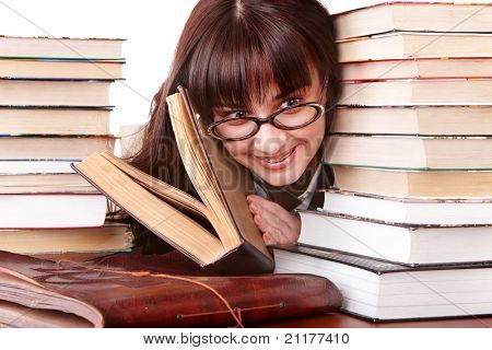 Clever girl in spectacles with group  book.  Isolated.