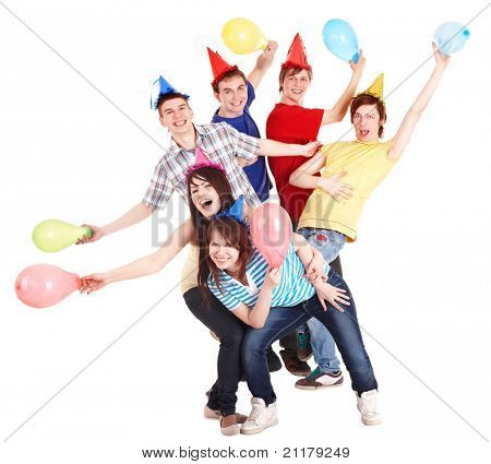 Group of people in party hat and  balloons. Isolated.