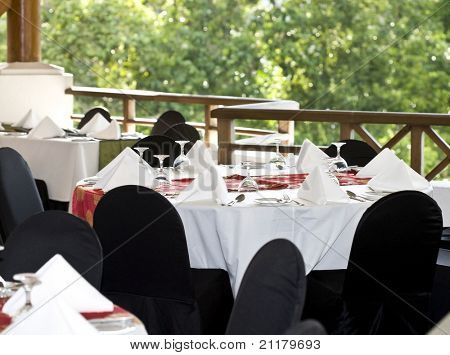 Restaurant interior. Look from terrace. Nature.