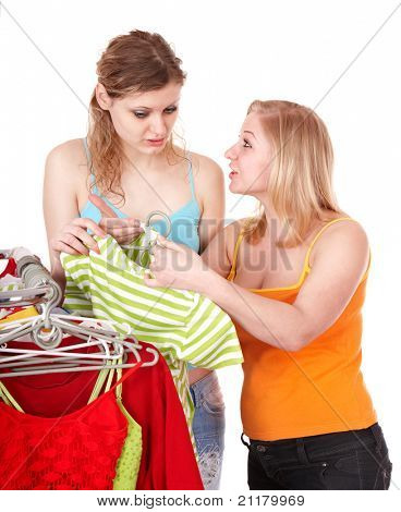 Young woman in clothing shop. Isolated.