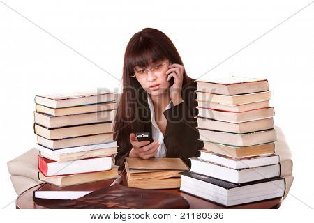 Clever girl with group book. Isolated.