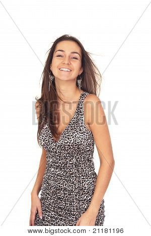 Beautiful Tanned Brunette Girl In A Dress For Cocktails Isolated On White