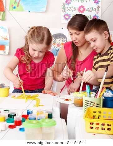 Постер, плакат: Дети живопись с учителем Развитие ребенка , холст на подрамнике