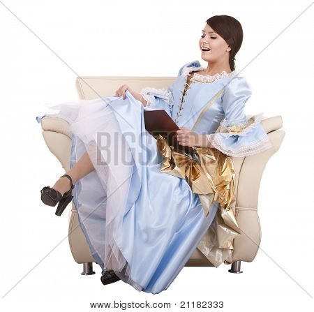 Young woman reading book on chair.Isolated.