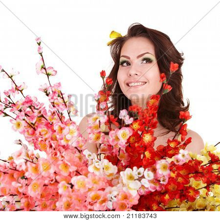 Young woman with spring flower and butterfly. Isolated.