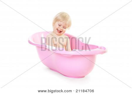 Baby Girl Is Very Fond Of Bathing In The Bath