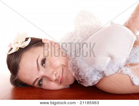 Young woman having  massage in hamam. Isolated.