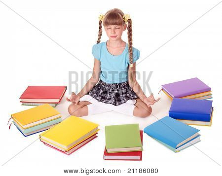 School child sitting lotus position. Isolated.