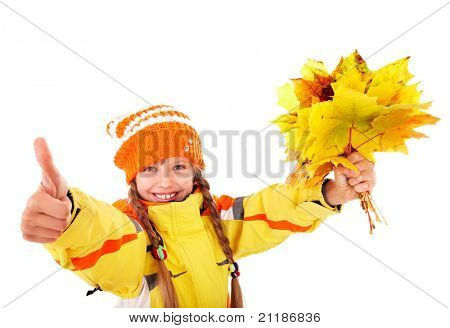 Girl in autumn orange hat holding leaves thumb up.  Isolated.