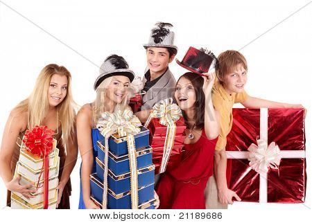 Group young people in santa hat holding stack gift box. Isolated.