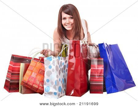 Young girl with shopping  bag. Isolated.
