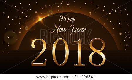 happy new year background gold 2018 poster