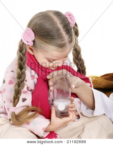 Sick child take  medicine with doctor. Isolated.
