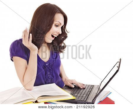 Girl with stack color book  and laptop.. Isolated.