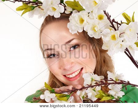 Beautiful girl with spring flower. Isolated.