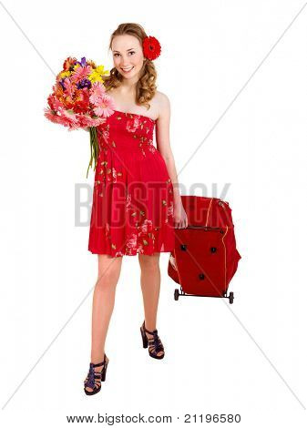 Traveling young woman with wheeled luggage. Isolated.