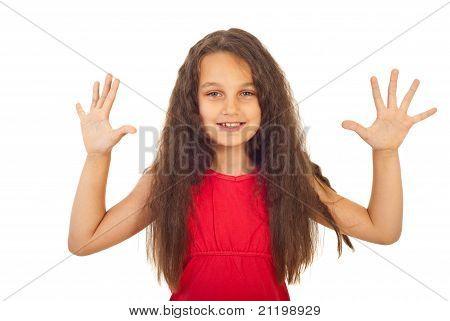 Happy Girl Showing Ten Fingers