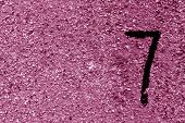 Number Seven On Pink Grungy Cement Wall. poster