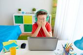 technology, gaming, cyberbullying and people concept - upset boy in headphones with laptop computer  poster