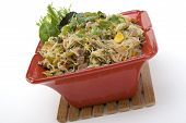 pic of pancit  - Pancit in a Red Ceramic dish with Garnish - JPG