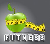 stock photo of tape-measure  - Vector green apple sport measured the meter on a gray background - JPG