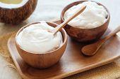 Organic Coconut Yogurt In Wooden Bowl, Dairy Free Yogurt, Probiotic Food poster