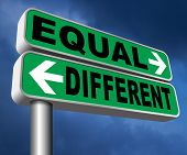 equal or different equality in rights and opportunity for all no discrimination or racism embrace di poster