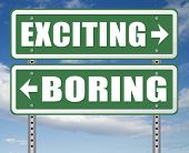 exciting or boring go for thrilling adventure and not for dull routine 3D, illustration  poster