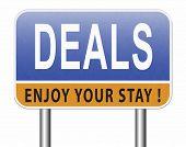 Deals great special sales offer road sign billboard.  3D, illustration  poster