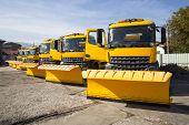 Yellow Snowplow Trucks In Line poster