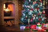 Christmas Home Interior With Tree And Fireplace poster