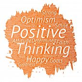 Conceptual positive thinking, happy strong attitude paint brush word cloud isolated on background. C poster