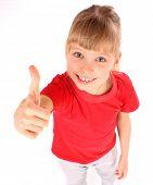 Постер, плакат: Счастливая девушка в красном спорт футболку Угол