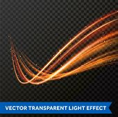 Light Line Gold Swirl Effect. Vector Glitter Light Fire Flare Trace poster