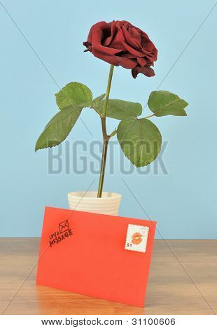 Romantic red letter and rose