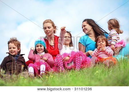 Croup of colorful kids having fun at spring