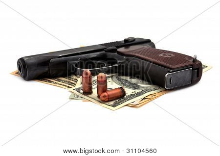 Pistol, Cartridges And Dollars