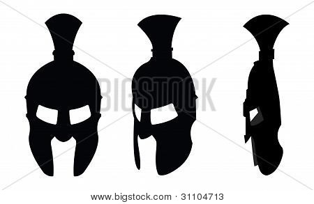 Ancient helmet silhouettes
